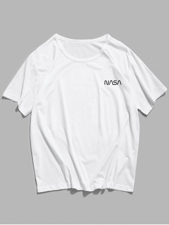 Letter Pattern Casual Short Sleeve Tee - أبيض L