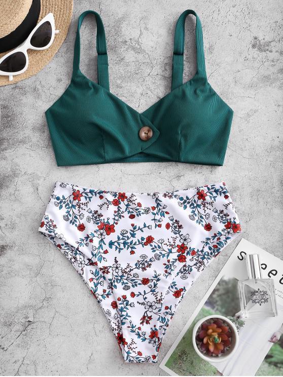 ZAFUL Flower Ribbed Mock Button High Waisted Tankini Swimwear - ديب غرين M