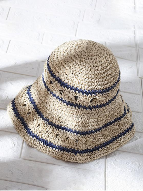 women's Hollow Out Decorated Foldable Straw Hat - BEIGE