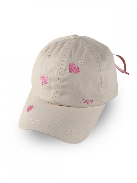 online Heart Letter Embroidered Baseball Hat - WARM WHITE