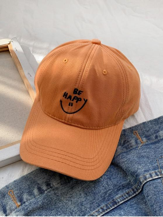 outfits Embroidery Smile Letter Baseball Cap - MANGO ORANGE