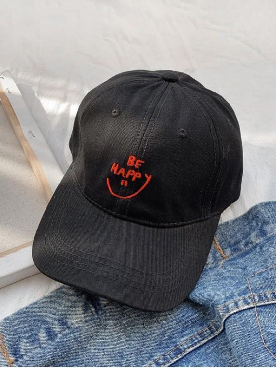 Broderie Zâmbet Scrisoare Baseball Cap - Negru
