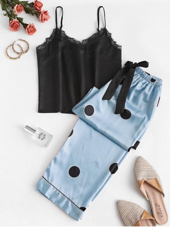 Lace Insert Polka Dot Cami Pijama Pantaloni Set - Pastel albastru XL