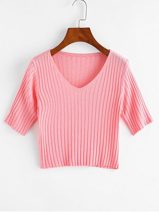 fancy V Neck Knitted Slim Crop Tee - PINK ONE SIZE