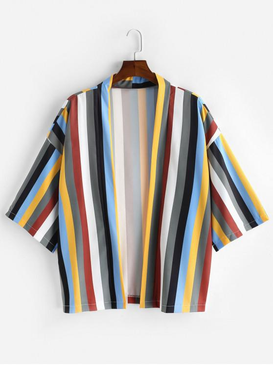 Camisa Manga Corta Estampado Colorido Rayado - Multicolor-A M