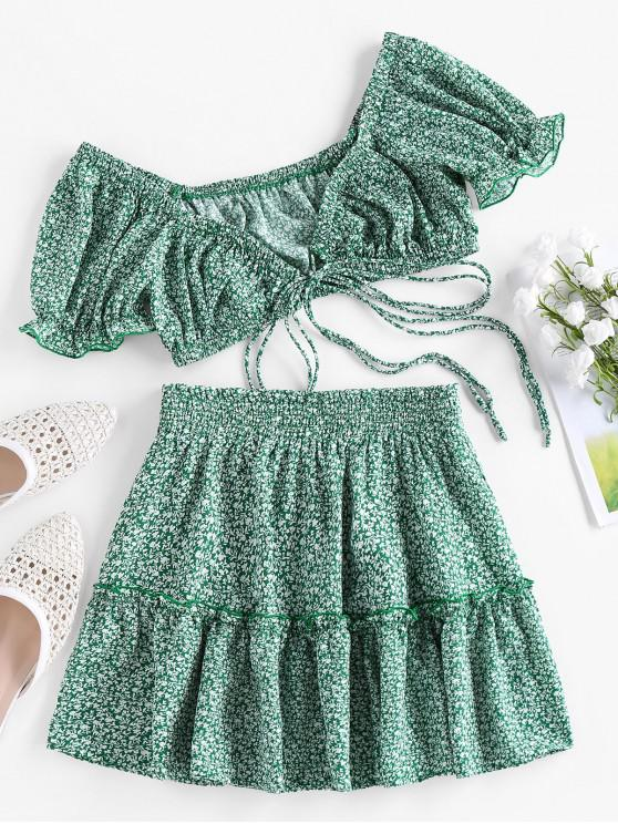 outfits ZAFUL Tiny Floral Print Tied Two Piece Dress - SEA TURTLE GREEN M