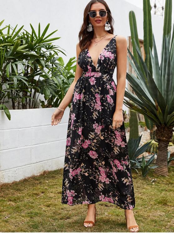 women's Flower Print Low Cut Backless Bohemian Dress - BLACK L