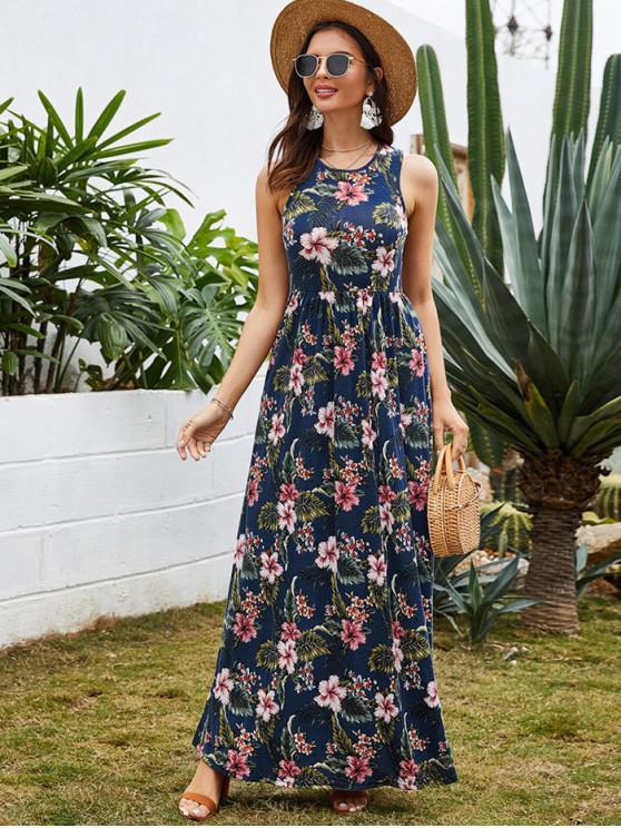 shop Flower Print High Waisted Maxi Dress - CADETBLUE XL