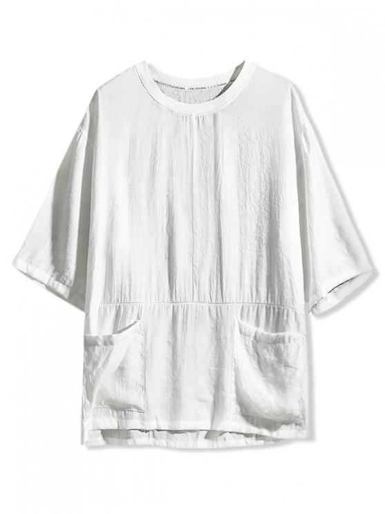 Solid Color Double Pocket T-shirt - أبيض L