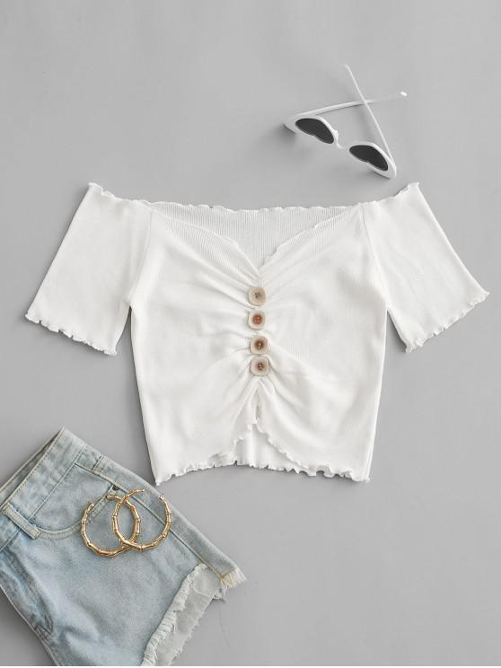 Mock Button Ruched Cropped T-shirt - أبيض حجم واحد