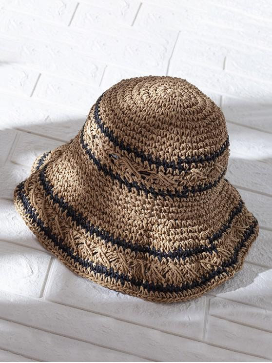 ladies Hollow Out Decorated Foldable Straw Hat - CAMEL BROWN
