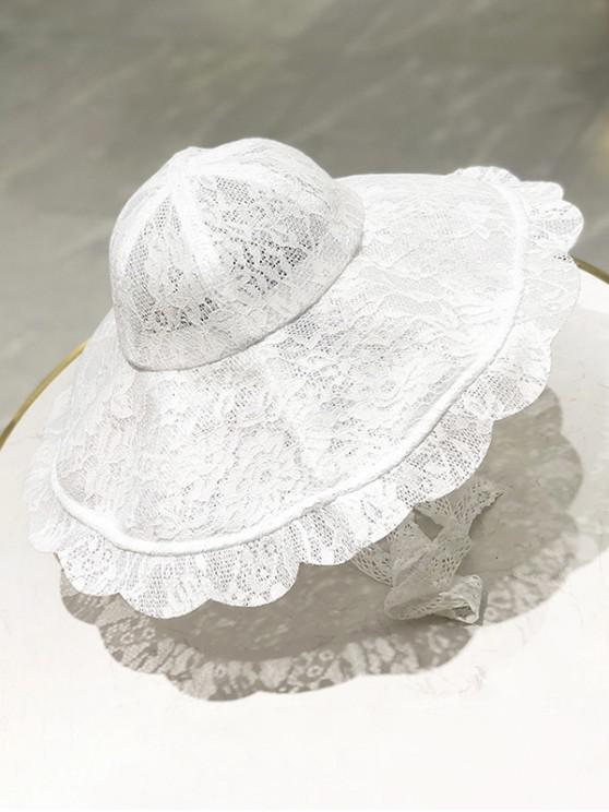 lady Floral Lace Scalloped Sun Hat - WHITE