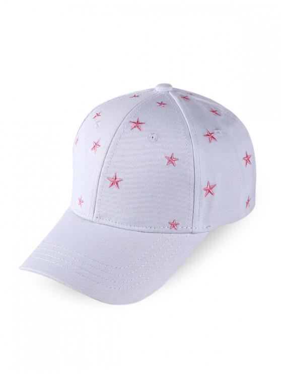 Star Embroidered Baseball Cap - أبيض