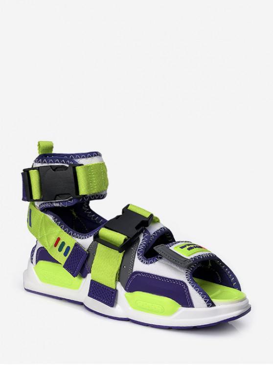 shop Colorblock Buckle Strap High Top Sport Sandals - GREEN EU 43