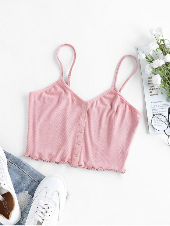 fashion Ribbed Snap Button Lettuce Trim Crop Cami Top - ROSE S