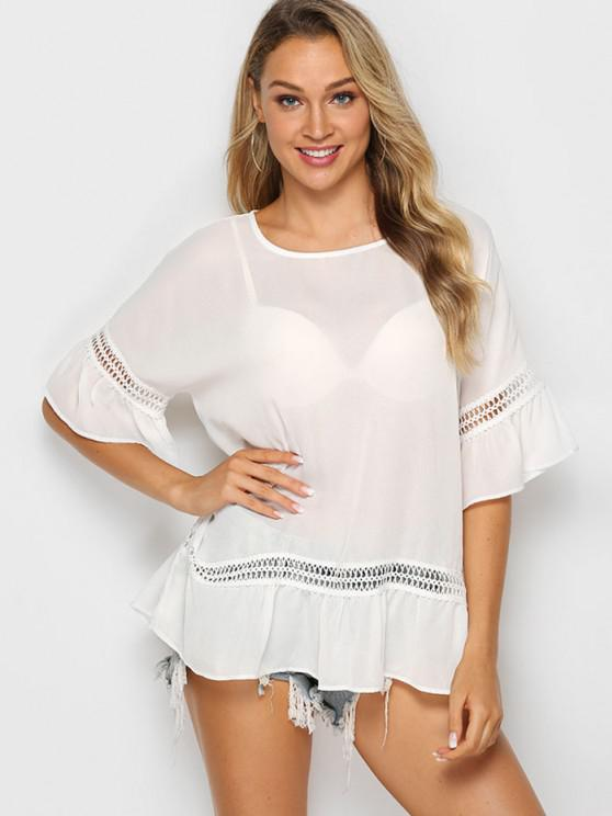 latest Solid Crochet Trim Flounced Blouse - WHITE S