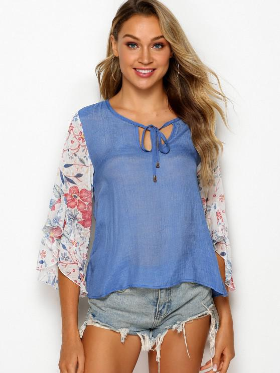 fashion Tie Collar Floral Panel Chambray Blouse - SILK BLUE L