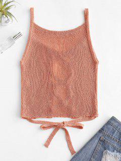 Lattice Front Tie Waist Knitted Tank Top - Light Salmon