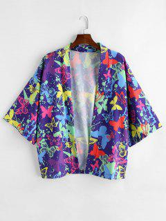 Butterfly Painting Printed Short Sleeves Shirt - Purple Iris L