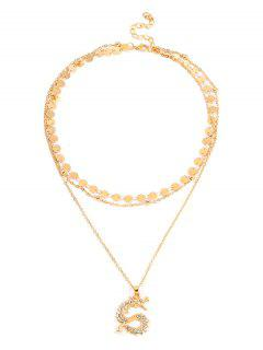 Dragon Rhinestone Layered Necklace - Gold