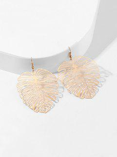 Hollow Out Tropical Leaf Earrings - Gold