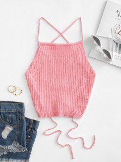 Lace Up Knitted Crop Cami Top - Flamingo Pink