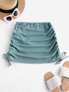 Ribbed Cinched Side Mini Skirt - Cyan Opaque