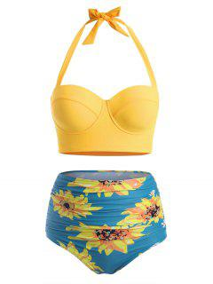 Bikini à Taille HauteFleurImpriméeGrande-Taille à Col Halter - Bleu De Soie 3xl