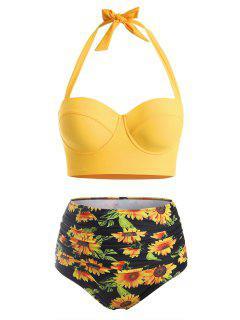 Bikini à Taille HauteFleurImpriméeGrande-Taille à Col Halter - Jaune Clair Xl