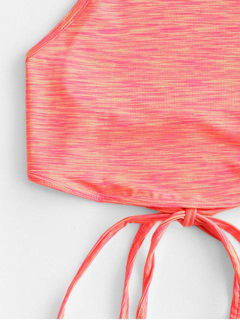 new Lace Up Criss Cross Heathered Tie Dye Crop Top - ORANGE L Mobile