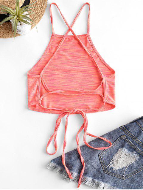 Kreuzer und Querer Krawattenfärbender Crop Top mit Schnürung - Orange L Mobile