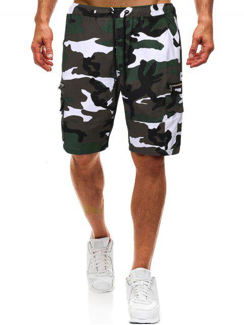 fancy Camo Drawstring Cargo Shorts with Zipper Pockets - ACU CAMOUFLAGE M Mobile