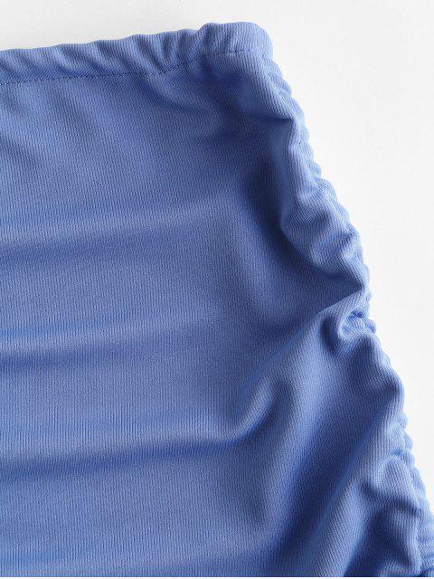 Mini Saia com Nervuras Amarrado - Azul Cristal Um Tamanho Mobile