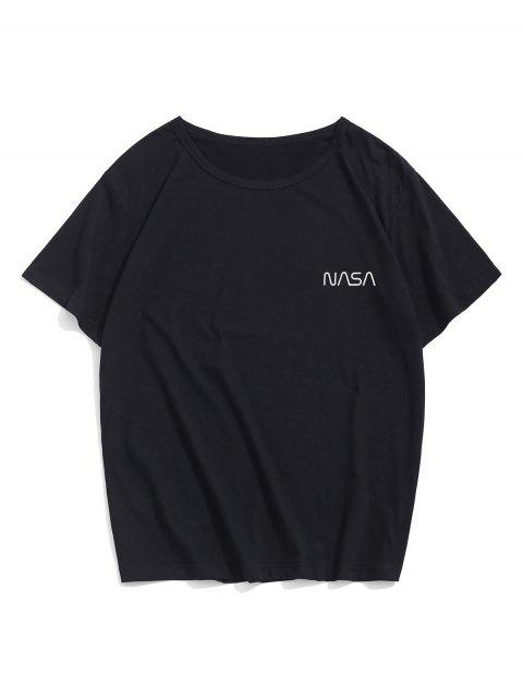 chic Letter Pattern Casual Short Sleeve Tee - BLACK M Mobile