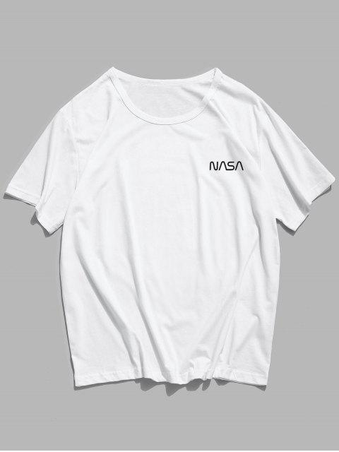 Letter Pattern Casual Short Sleeve Tee - أبيض L Mobile