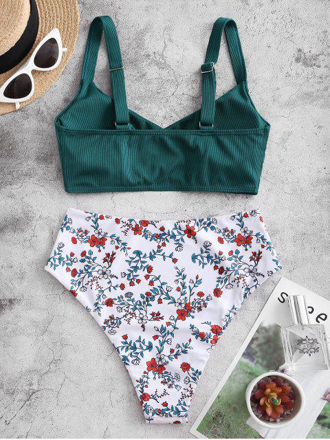 ZAFUL Maillot de Bain Tankini Côtelé Fleur avec Bouton à Taille Haute - Vert profond L Mobile