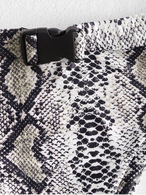 new ZAFUL Push Buckle Leopard Snake Print Bikini Bottom - MULTI-B M Mobile