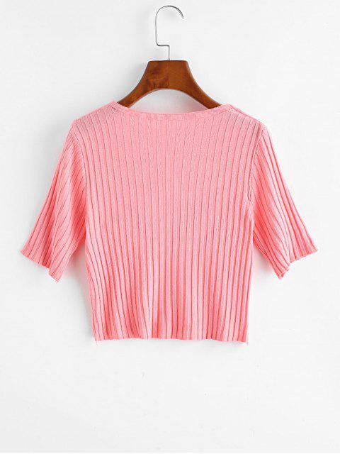 T-Shirt Corta in Maglia con Scollo a V - Rosa Taglia unica Mobile