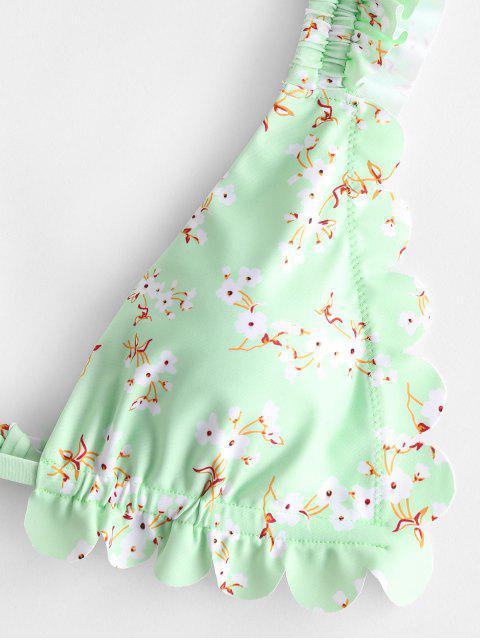 ZAFUL Costume da Bagno Bikini a Gamba Alta con Stampa Floreale - Verde chiaro M Mobile