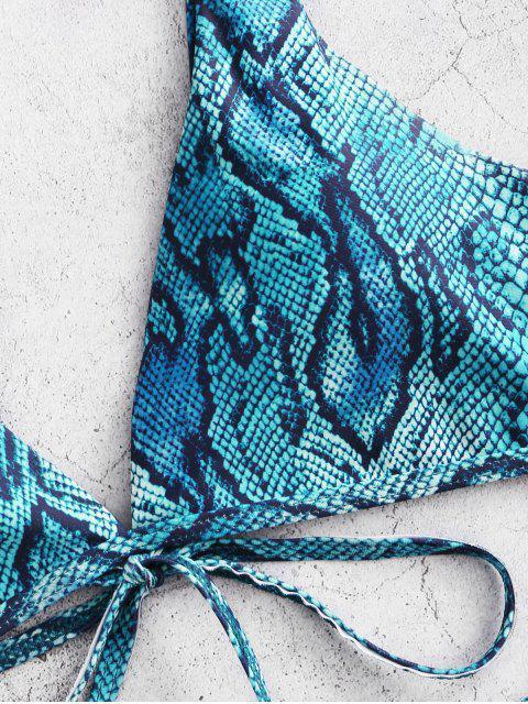 ZAFUL Bikini con Estampado de Animal con Lazo - Azul Eléctrico S Mobile