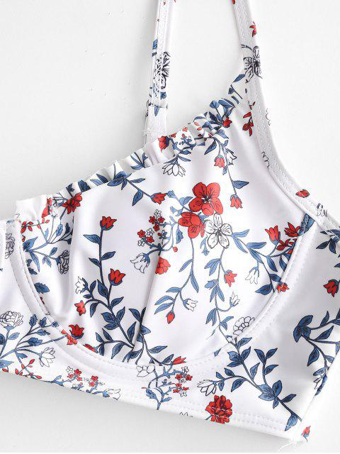online ZAFUL Floral V-wire Lettuce High Cut Bikini Swimsuit - WHITE S Mobile