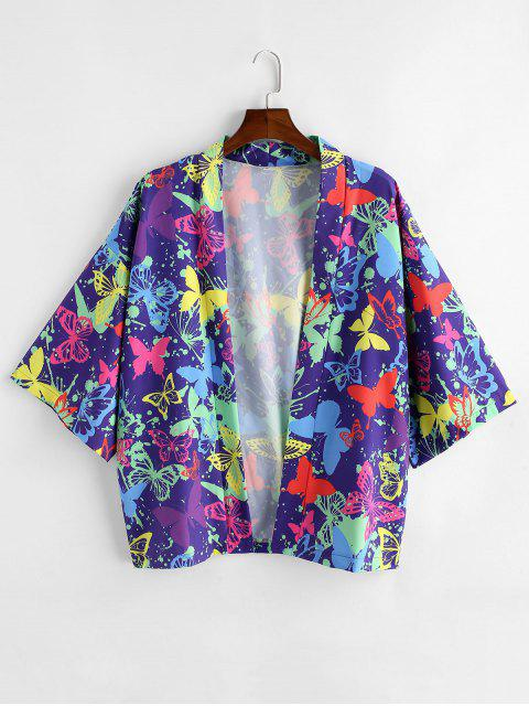 ladies Butterfly Painting Printed Short Sleeves Shirt - PURPLE IRIS L Mobile