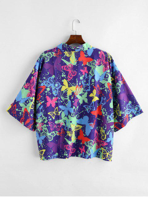 lady Butterfly Painting Printed Short Sleeves Shirt - PURPLE IRIS XL Mobile