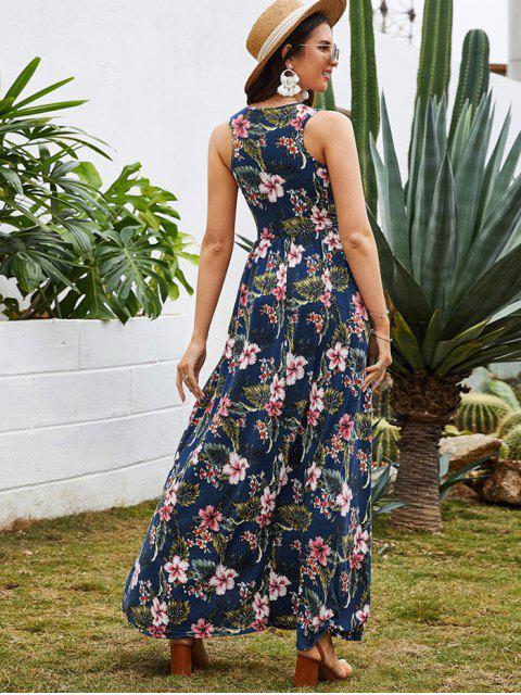Vestido Maxi com Estampa de Flor de Cintura Alta - Cadetblue XL Mobile