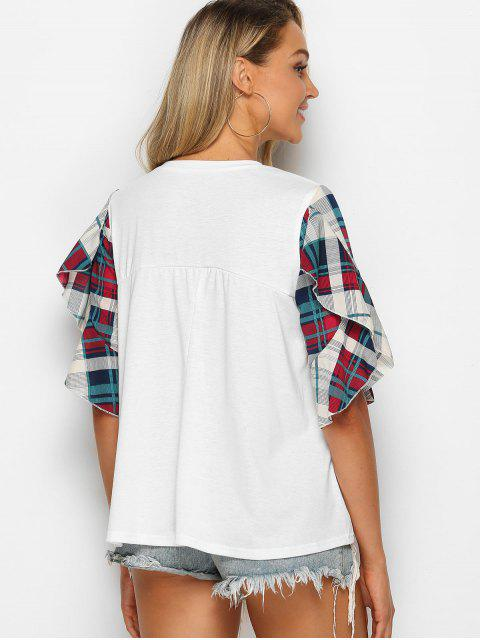 outfit Flounced Sleeve Plaid Panel Blouse - WHITE XL Mobile