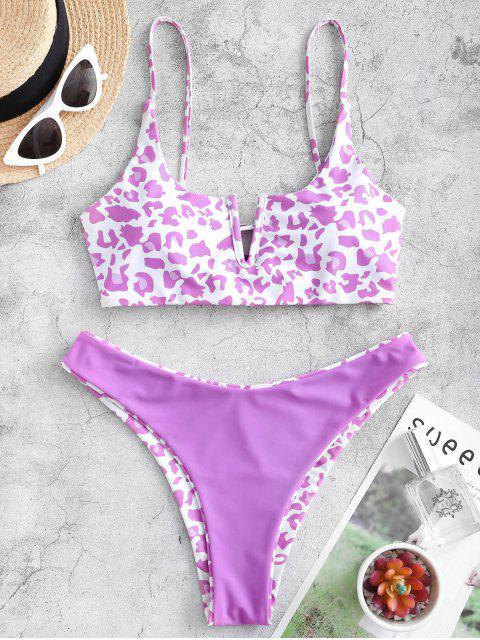 hot ZAFUL Animal Print V-notch Reversible Bikini Set - MULTI-D S Mobile