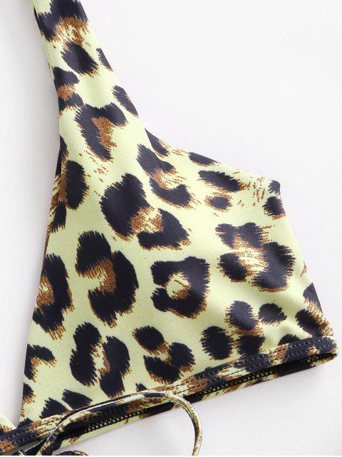 ZAFUL Bikini con Estampado de Animal con Lazo - Galletas Brown S Mobile