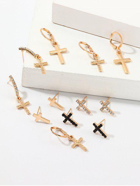 6 Pairs Cross Rhinestone Earrings Set - ذهب  Mobile