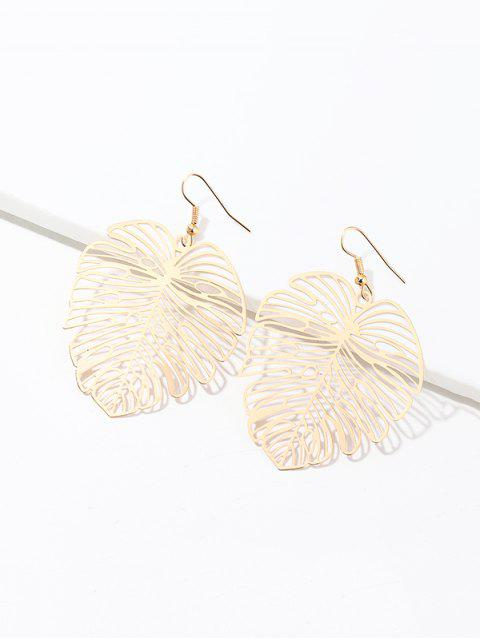outfit Hollow Out Tropical Leaf Earrings - GOLD  Mobile