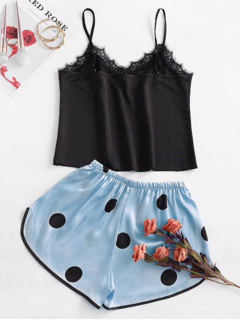 shop Polka Dot Lace Insert Pajama Shorts Set - JEANS BLUE XL Mobile